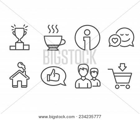 Set Of Winner Podium, Feedback And Couple Icons. Dating, Espresso And Online Market Signs. Competiti