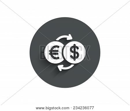 Money Exchange Simple Icon. Banking Currency Sign. Euro And Dollar Cash Transfer Symbol. Circle Flat