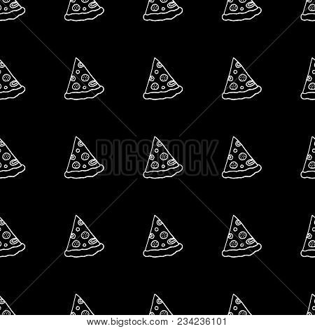 Cute Cartoon Fast Food Background With Hand Drawn Pizza Slices. Sweet Vector Black And White Fast Fo
