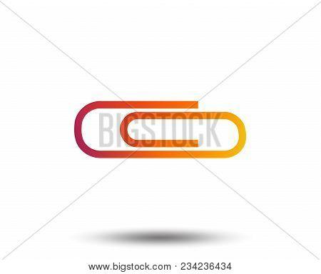 Paper Clip Sign Icon. Clip Symbol. Blurred Gradient Design Element. Vivid Graphic Flat Icon. Vector