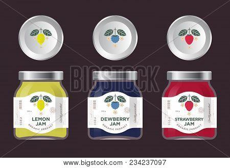 Three Labels Fruit Jam. Lemon, Dewberry, Strawberry Jam Labels And Packages. Premium Design. The Fla