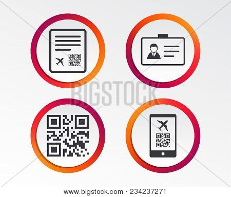 Qr Scan Code In Smartphone Icon. Boarding Pass Flight Sign. Identity Id Card Badge Symbol. Infograph