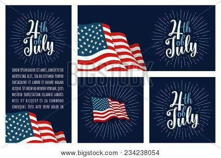 Set Horizontal, Vertical, Square Posters With Firework And American Flag. 4th Of July Lettering Insc