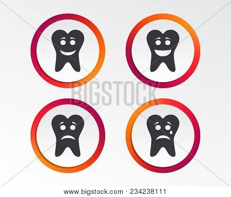 Tooth Smile Face Icons. Happy, Sad, Cry Signs. Happy Smiley Chat Symbol. Sadness Depression And Cryi