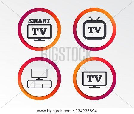 Smart Tv Mode Icon. Widescreen Symbol. Retro Television And Tv Table Signs. Infographic Design Butto