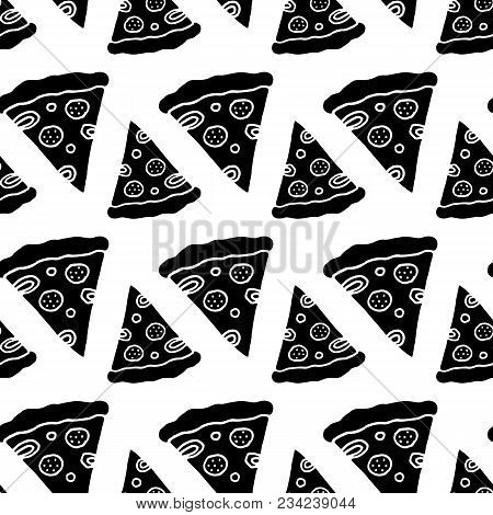 Cute Cartoon Pizza Print With Hand Drawn Pizza Slices. Sweet Vector Black And White Pizza Print. Sea
