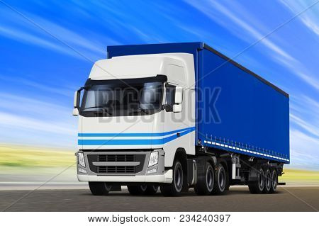 3D illustration of big truck moving on the way at summer day