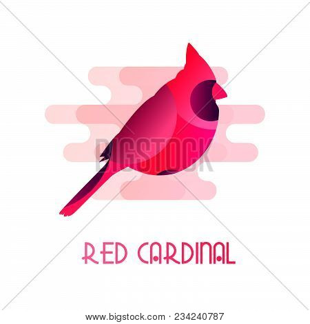 Icon With Red Cardinal In Flat Design On White Background. Vector.