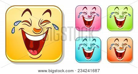 Happy Laughing Out Loud Emoji Face. Emoticons Collection. Colorful Smiley Set.
