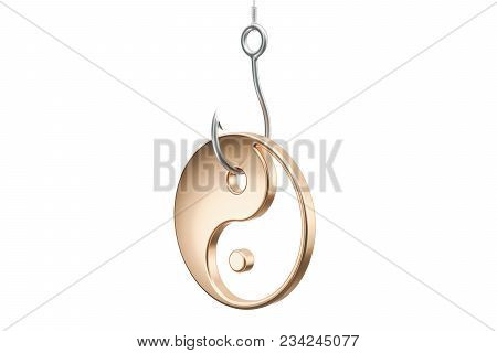 Hook With Yin And Yang, Taoism Religion Trap Concept. 3d Rendering