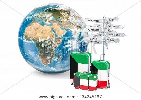 Kuwait Travel Concept. Suitcases With Flag, Signpost And Earth Globe. 3d Rendering