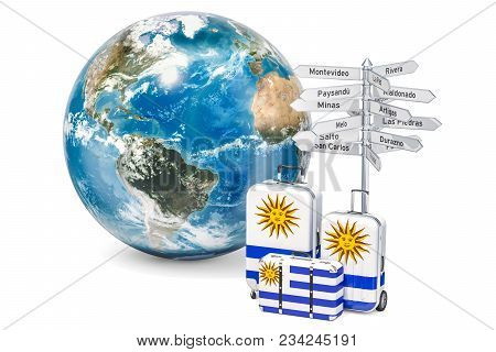 Uruguay Travel Concept. Suitcases With Uruguayan Flag, Signpost And Earth Globe. 3d Rendering