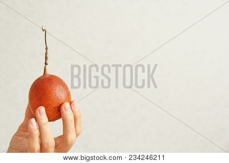 A Female Hand Holds A Tropical Fruit Passion Fruit. One Yellow Or Orange Passion Fruit Lies In A Han