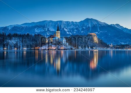 Beautiful Twilight View Of Lake Bled With Famous Bled Island And Historic Bled Castle In The Backgro