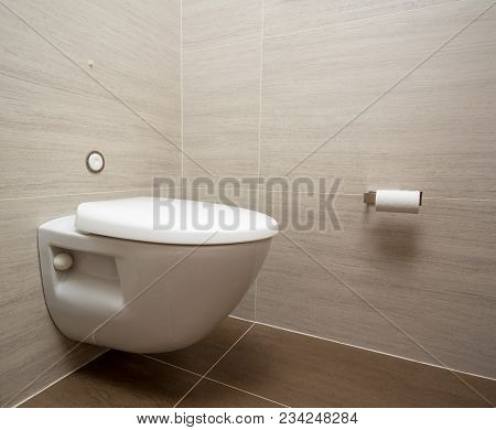 Modern Flush Toilet Or Wc In Small Bathroom With Push Button Flush