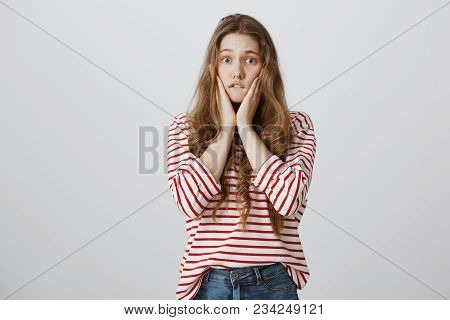 Woman Witnessing Terrible Fight, Worrying And Being Clueless What Do. Anxious Shocked Girl With Tatt