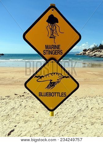 Two Warning Signs On A Beach In Magnetic Island, Tropical Queensland Warning Of Dangerous Marine Sti
