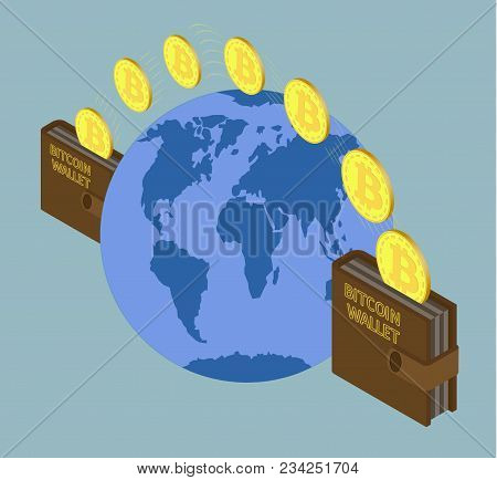 Transfer Bitcoin Coins From Wallet In Another Wallet, Trasaction Crypto Currensy On The Background O