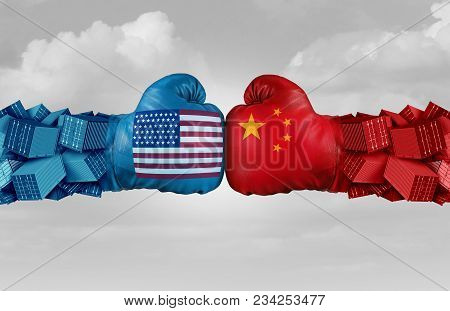 China Usa Or United States Trade And American Tariffs Conflict With Two Opposing Trading Partners As
