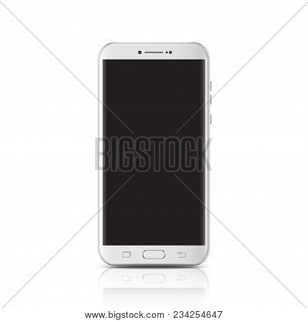Modern Realistic White Smartphone. Smartphone With Edge Side Style, 3d Vector Illustration Of Cell P