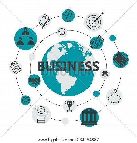 International Business Flat Design. Round The Earth Global Connection Network With Finance System Ic