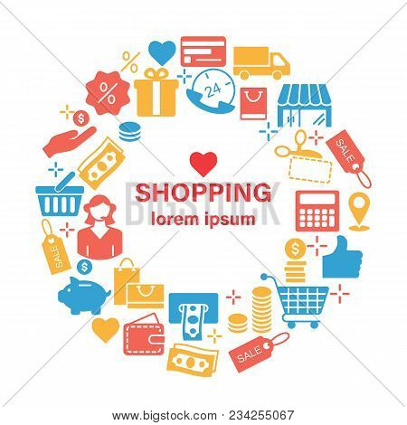 Shopping Line Icons Banner Design Concept With Outline Art Icons. Shopping Web Design Background. Sh