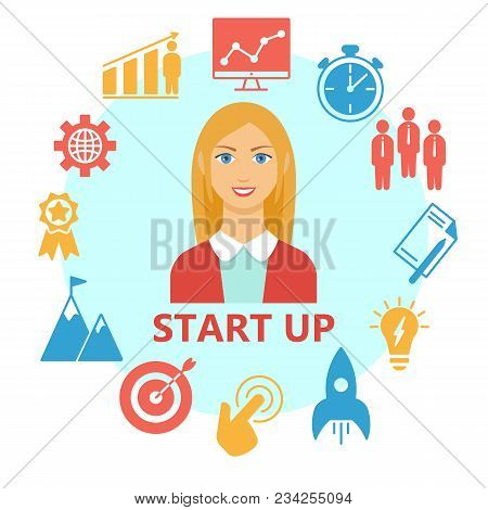Start Up Flat Design Set. Poster With Start Up Outline Icons Suitable For Infographics Websites And
