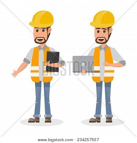 Architect, Foreman, Engineering Construction Worker In Different Character. Vector Illustration Cart