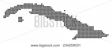 Dotted Cuba Map. Vector Mosaic Of Cuba Map Composed Of Round Dots. Vector Geographic Map.