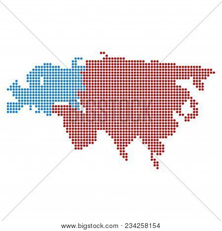 Dotted Europe And Asia Map. Vector Collage Of Europe And Asia Map Constructed Of Round Dots. Vector