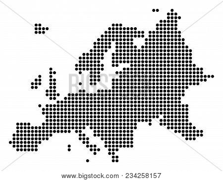 Dotted Europe Map. Vector Concept Of Europe Map Composed Of Round Dots. Vector Geographic Map.