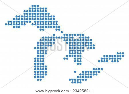 Dotted Great Lakes Map. Vector Mosaic Of Great Lakes Map Combined Of Round Pixels. Vector Geographic