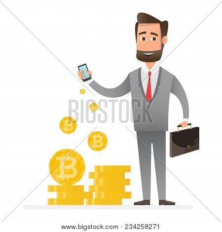 Cryptocurrency Technology, Bitcoin Exchange, Bitcoin Mining, Mobile Banking. Man Holding Mobile Phon