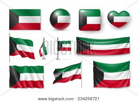 Set Kuwait Flags, Banners, Banners, Symbols, Flat Icon. Vector Illustration Of Collection Of Nationa