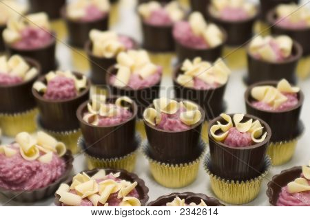 Close Up Of Fancy Chocolate Desserts.