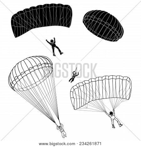 Parachute Illustration Collection Set On White