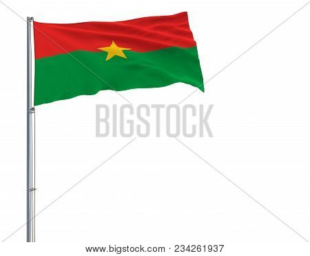 Isolate Flag Of Burkina Faso On A Flagpole Fluttering In The Wind On A White Background, 3d Renderin