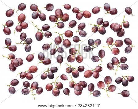 Lot of grape berries on the white background. Top view. Grape pattern.
