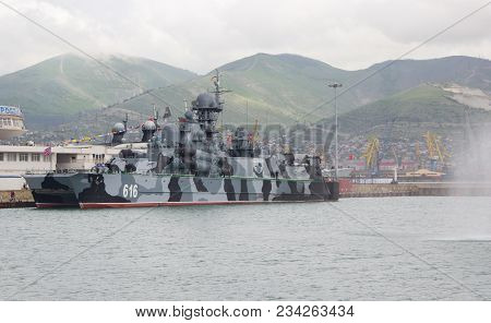 Novorossiysk, Russia, May 10, 2015: Small Rocket Ship On An Air Pillow