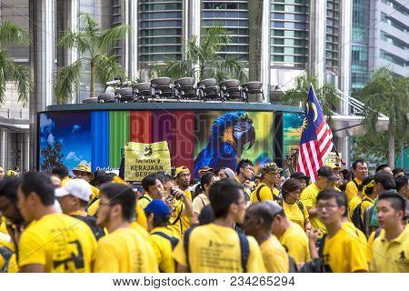 Kuala Lumpur, Wilayah Persekutuan Malaysia - November 19 2016: The Bersih 5 Rally Was A Peaceful Dem