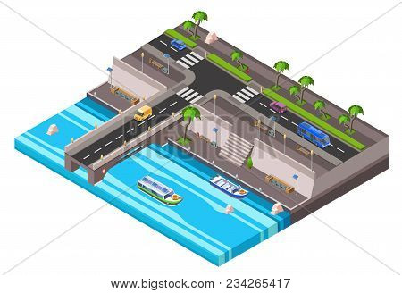 Vector Isometric Riverside Embankment With Car Roadway With Vehicle Bus Traffic, Sidewalk Transport