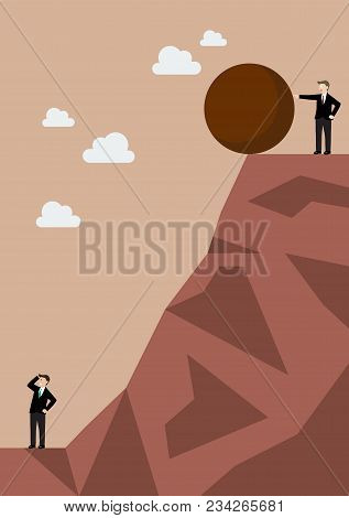 Businessman Pushing Heavy Stone To His Enemy. Business Concept