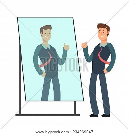 Cartoon Businessman Loves To Look At His Reflection In Mirror. Egoistic Person Vector Consept. Busin