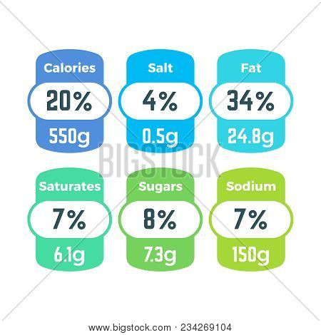 Healthy Food Packing Nutrition Labels With Calories And Grams Information Vector Set. Nutrition Ener
