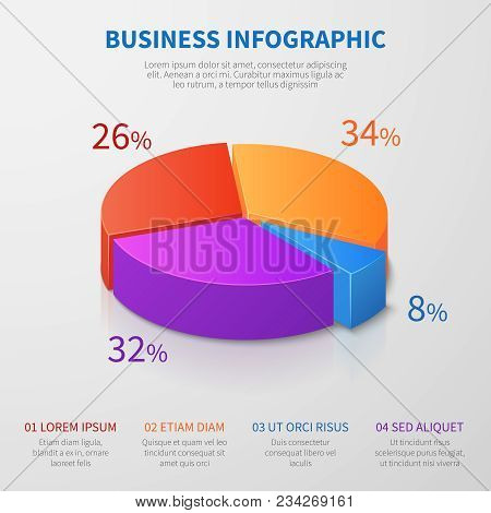 Pie Chart 3d Graph Vector Design With Percentages And Options For Business Presentation. Illustratio