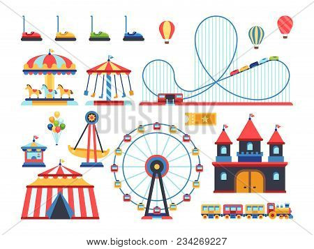 Amusement Park Attractions. Train, Ferris Wheel, Carousel And Roller Coaster Flat Vector Icons. Amus