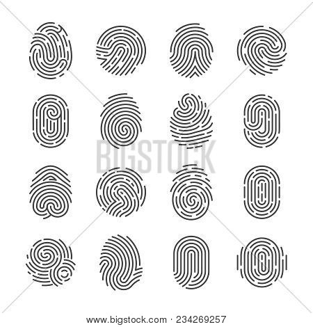 Fingerprint Detailed Icons. Police Scanner Thumb Vector Symbols. Identity Person Security Id Pictogr