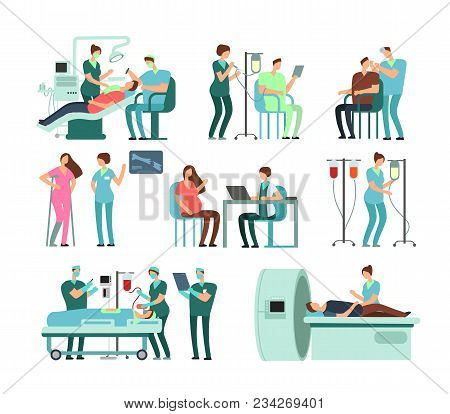 Medical Doctors And Patients In Clinic. Vector People And Medicine Isolated. Medical Care In Clinic