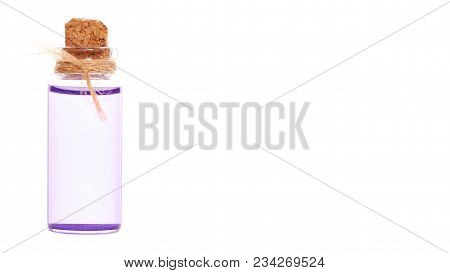 Eco Aroma Oil Bottle Isolated On White Background. Copy Space, Template.