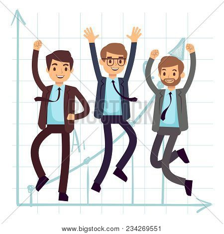 Happy Jumping Business Man. Flat Success In Business Concept Design. Businessman Success And Happy,